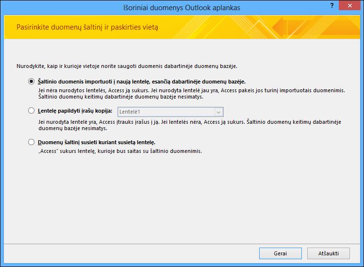 """Pasirinkite importuoti, pridėti arba susieti su """"Outlook"""" aplanku."""