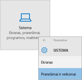 """""""Windows"""" parametrai, pasirinkite sistema, tada pranešimai ir veiksmai"""