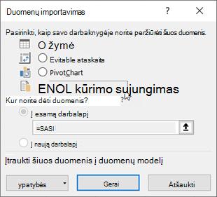 Dialogo langas duomenų importavimas su pasirinktu tik jungimosi parinktimi