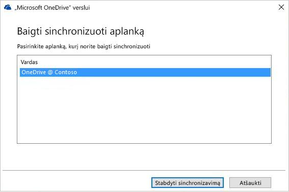 Dialogo lango Stabdyti aplanko sinchronizavimą ekrano nuotrauka