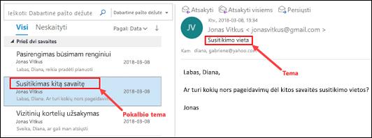 """""""Outlook"""" grupių pranešimus iš pokalbio tema pranešimų sąraše."""