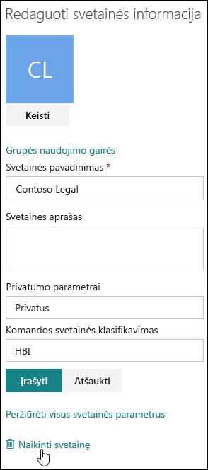 SharePoint svetainės informacijos sritis