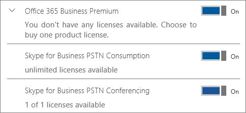 Turėsite neribotą kiekį PSTN vartojimo licencijas galite priskirti vartotojams.