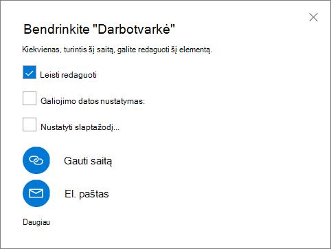 Bendrinimo dialogo lango ekrano nuotrauka
