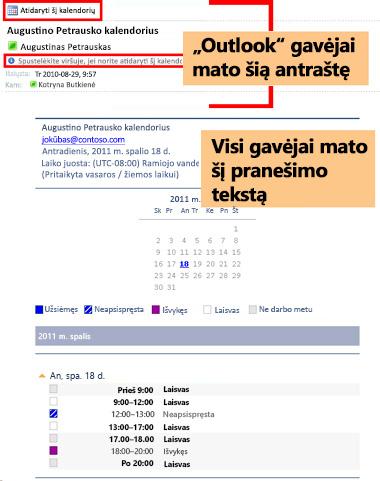 Kalendoriaus, gauto naudojant el. pašto kalendoriaus priemonę, pavyzdys