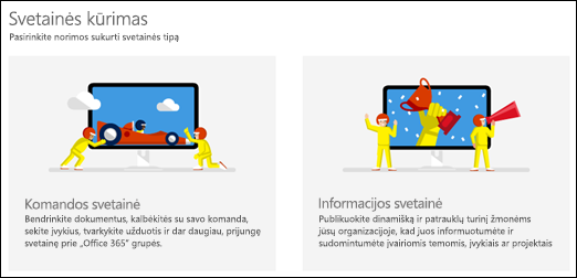 """""""SharePoint Online"""" svetainės tipo pasirinkimas"""