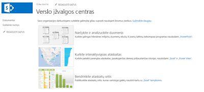 """Verslo įžvalgų centro svetainės """"SharePoint Online"""" pagrindinis puslapis"""