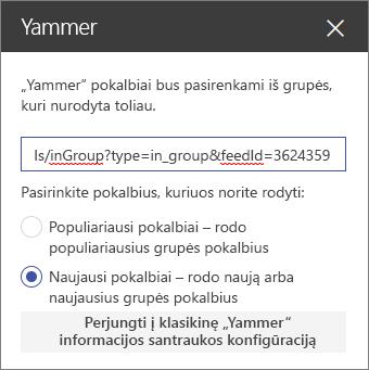 """""""Yammer"""" ypatybių sritis"""