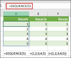 Vertikalaus masyvo konstantos kūrimas naudojant = SEQUENCE (5) arba = {1; 2; 3; 4; 5}