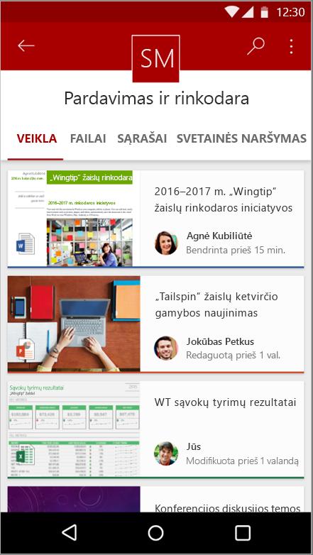 """Ekrano nuotrauka, rodanti svetainės veikla, failas, sąrašai ir naršymo """"Android"""" mobiliųjų įrenginių programėlės"""