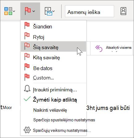 """Pranešimo žymėjimas programoje """"Outlook"""""""