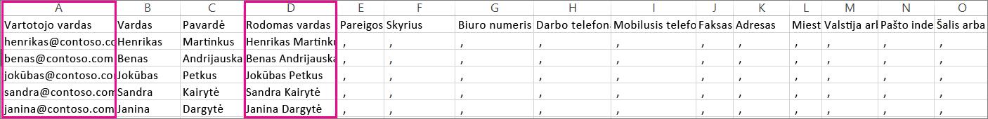 CVS failo, kuriame yra nurodyta tuščių eilučių, pavyzdys