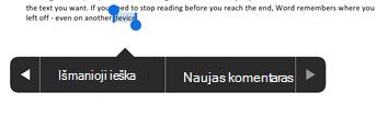 """Bakstelėkite Naujas komentaras po teksto žymėjimas programoje """"Word"""""""