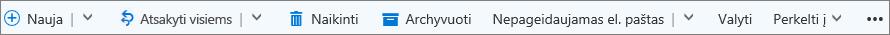 """""""Outlook.com"""" komandų juosta, kuri rodoma pasirinkus pranešimą"""