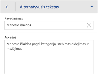 Alternatyviojo teksto komanda Lentelės skirtuke