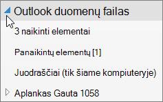 """Norėdami atidaryti """"outlook"""" duomenų failą, pasirinkite rodyklę, esančią šalia tai."""