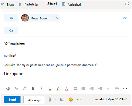 """Naujo el. laiško kūrimas internetinėje """"Outlook"""""""