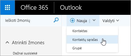 """Mygtuko """"naujas"""" kontekstinio meniu ekrano nuotrauka, kurioje pažymėta """"kontaktų sąrašas""""."""