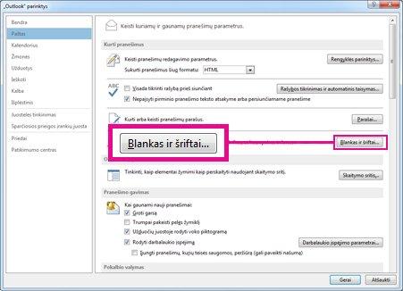 Dialogo lango Outlook parinktys komanda Blankai ir šriftai