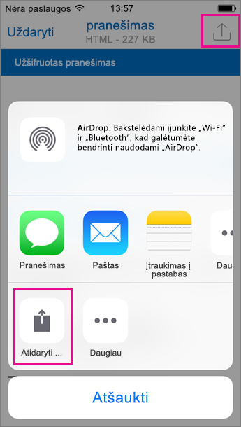 "OME peržiūros programa ""Outlook"", skirta ""iOS"" 2"