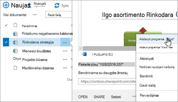 """Programos """"OneDrive"""" """"OneDrive"""" portalo Klasikiniame rodinyje """"Word"""" failo pasirinkta parinktis atidaryti """">"""""""