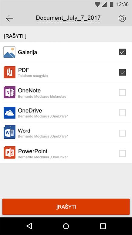 """""""Office Lens"""", skirtos """"Android"""", eksportavimo ekrano nuotrauka"""