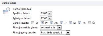 "Dalis Darbo laikas dialogo lange ""Outlook"" parinktys"