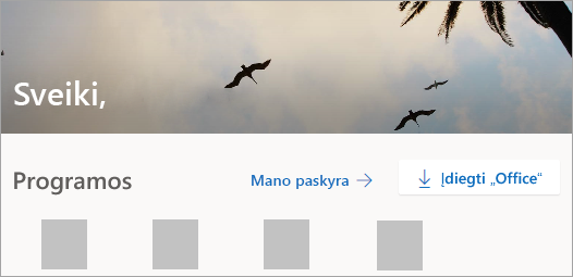 Ekrano kopija, kurioje rodomas Office.com pagrindinis puslapis prisijungus