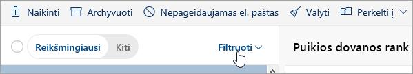 Ekrano kopija, kurioje matyti mygtukas Filtruoti