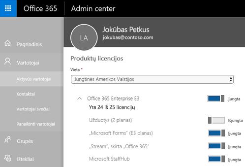 """Ekrano nuotraukoje rodomas """"Office 365"""" administravimo centro puslapis Produktų licencijos su išjungtu parinkties To-Do (2 planas) perjungimo valdikliu."""