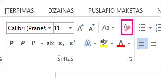 Mygtukas Valyti visą formatavimą