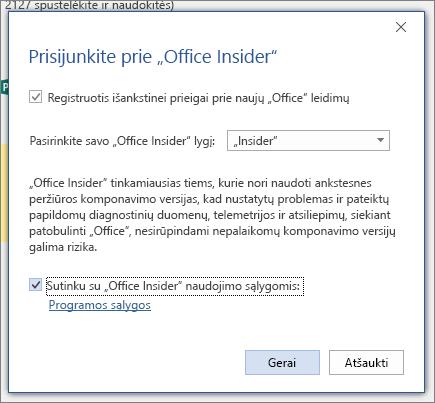 """Prisijungimas prie """"Office Insider"""" dialogo lango"""