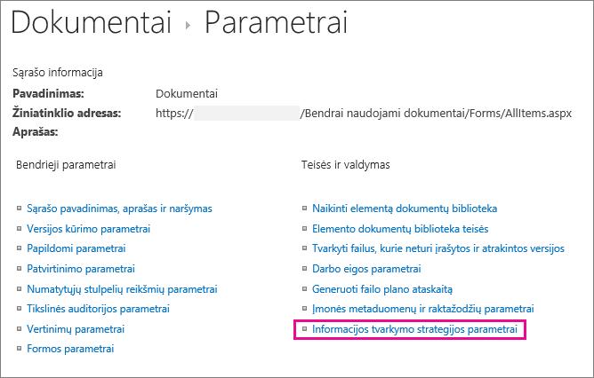 Informacijos tvarkymo strategijos saitas dokumentų bibliotekos parametrų puslapyje