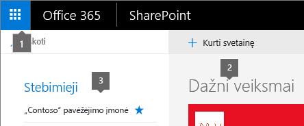 SharePoint Online viršutiniame kairiajame kampe pagrindiniame ekrane.