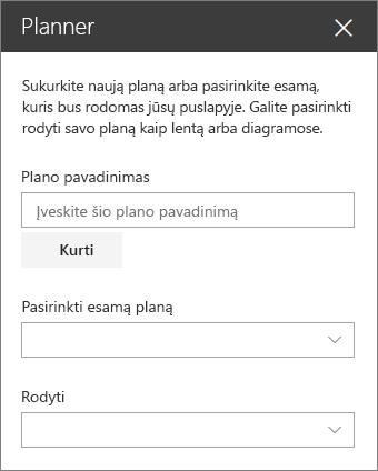 Planavimo priemonės žiniatinklio dalies įrankių komplekto