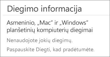 """Skyriuje Diegimo informacija pateikiamas kompiuterių, kuriuose esate įdiegę """"Office"""" iš šios paskyros, sąrašas. Jei dar neįdiegėte """"Office"""" iš šios paskyros, matysite """"Dar nesate panaudoję diegimų."""""""