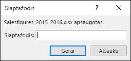 Norėdami atidaryti apsaugotą failą, įveskite slaptažodį