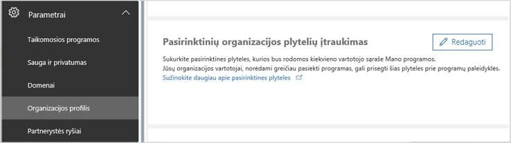 Pasirinktinių plytelių įterpimas organizacijoje