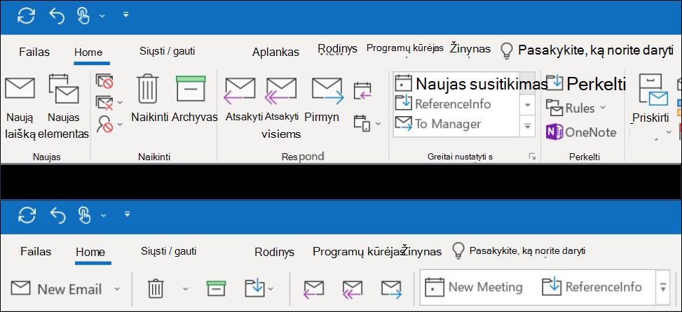 """Dabar galite pasirinkti iš dviejų skirtingų """"Outlook"""" juostelės funkcijų."""