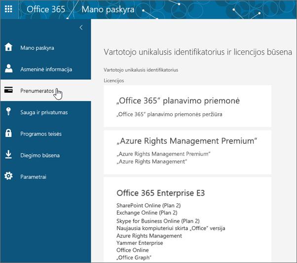 """""""Office 365"""" prenumeratų puslapis"""