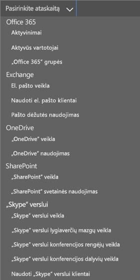 """""""Office 365"""" ataskaitos išplečiamasis sąrašas Naudojami el. pašto klientai"""