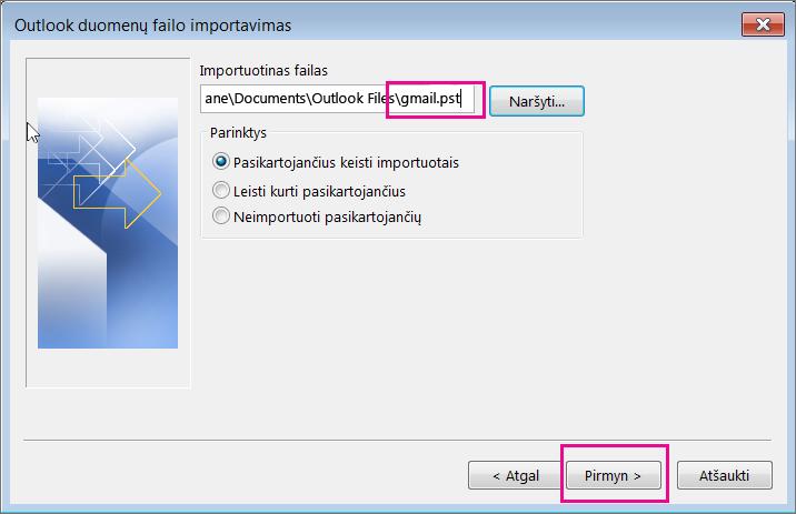 Pasirinkite pst failą, kurį sukūrėte, kad galėtumėte jį importuoti.