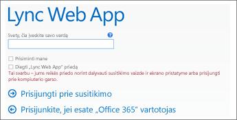prisijungimo prie susitikimo puslapio, kuriame galima prisijungti kaip svečiui, ekrano nuotrauka