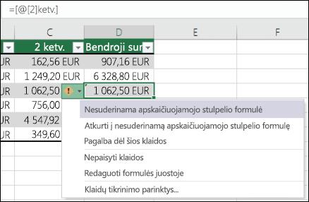 """Nesuderinamos formulės klaidos pranešimas programoje """"Excel"""" lentelės"""