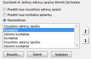 """Galite nurodyti, kokia tvarka """"Outlook"""" pasiekia jūsų adresų knygeles, naudodami rodykles."""