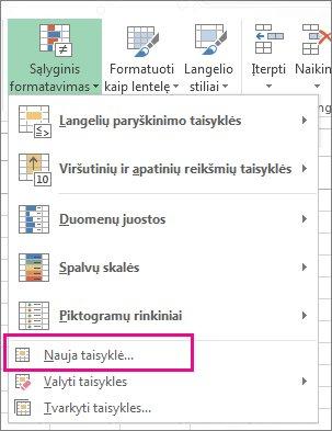 Mygtukas Sąlyginis formatavimas skirtuke Pagrindinis