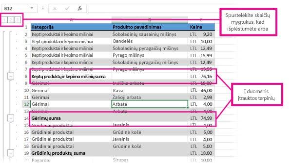Duomenys su įtrauktomis tarpinėmis sumomis