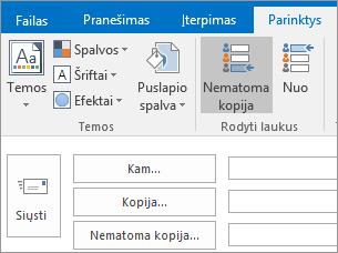 Norėdami įjungti lauką Nematoma kopija, atidarykite naują laišką, pasirinkite skirtuką Parinktys, tada grupėje Rodyti laukus pasirinkite Nematoma kopija.