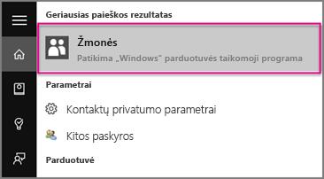 """Įveskite """"Windows 10"""" Žmonės"""