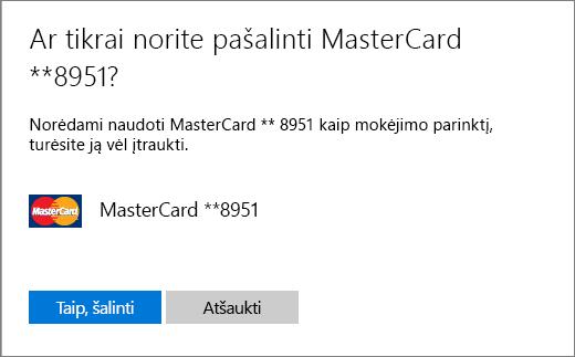 Kredito kortelės pašalinimo patvirtinimo puslapis.